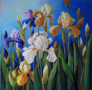 Bearded-Iris-original-floral-art-painting-of-white-orange-gold-irises-with-green-leaves-by-artist-Ngatio-McKee