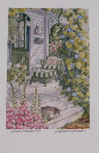 Simple-Pleasures-limited-edition-print-stunning-front-porch-painting-of-flowers-plants-sleeping-cat-white-porch-by-artist-Y-Dominuk