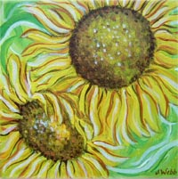Sunflower-original-floral-art-picture-of-two-sunflowers-on-green-background-by-floral-artist-Janice-Webb