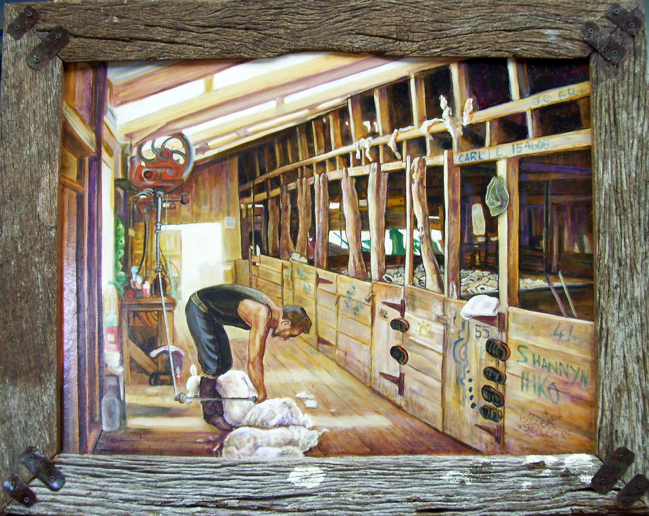 Nz Paintings Of Shearing Shed Horse Paintings Lake
